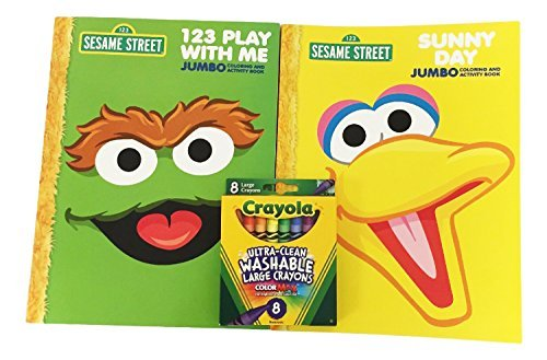 Sesame Street Oscar the Grouch and Big Bird Jumbo Coloring Book Activity Set with Large Crayola Crayons - 1