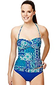 Paisley & Tile Print Bandeau Tankini Top