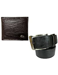 Needs Apki Needs Textured Brown Men's Wallet And Stylish Textured Black Color Men's Belt Combo