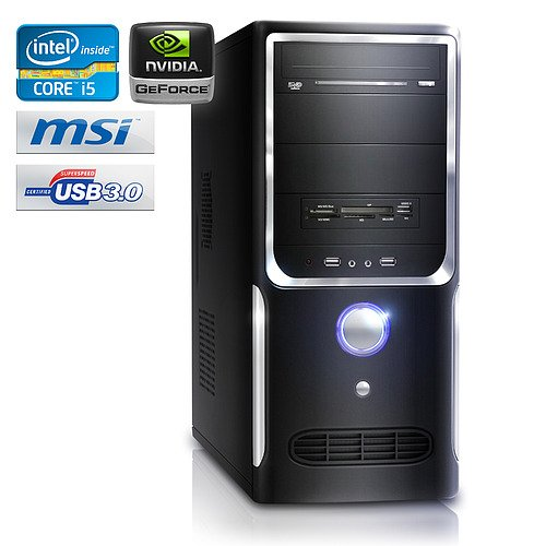 PC - CSL Speed A20217 (Core i5) - Gaming QuadCore! PC-System mit Intel Core i5-3570K 4x 3400 MHz, 1000GB SATA, 8192MB DDR3, GeForce GT 630 4096MB, DVD-RW, CardReader, 5.1 Sound, GigLAN, USB 3.0