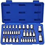 Neiko® 10070A Torx Bit Socket and External Torx Socket Set | 35-Piece Set | S2 and Cr-V Steel