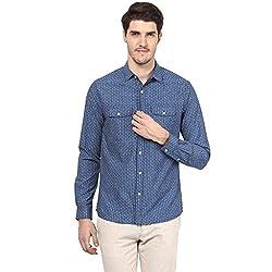 Atorse Mens White Dot Stripe Printed Blue Casual Shirt