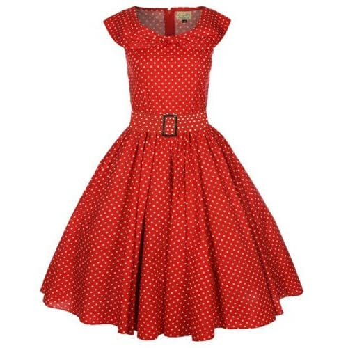 Musical Holiday 1950's Swing Polka Dot Shawl Collar Pin Up Retro Vintage Dress, Red S-2XL (Small)