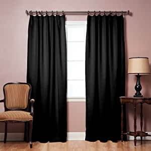Pinch Pleated Thermal Insulated Blackout Curtain 40 W X 84 L 1set Black Home