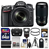 Nikon D7100 Digital SLR Camera & 18-140mm VR DX Lens (Black) with 70-300mm VR Lens + 64GB Card + Case + Flash + Battery + Tripod + Filters Kit