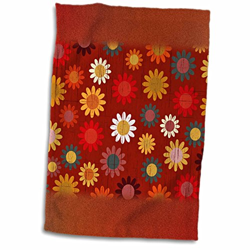 Anne Marie Baugh Patterns - Cute Yellow, Blue, Orange Sixties Flowers On A Grunge Background - 11x17 Towel (60s Background)