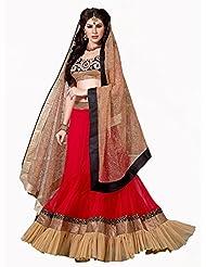 Admyrin women Net Embroidered Red Lehenga Choli