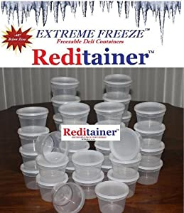 Extreme Freeze Reditainer 16 oz. Freezeable Deli Food Containers w/ Lids - Pack of 36