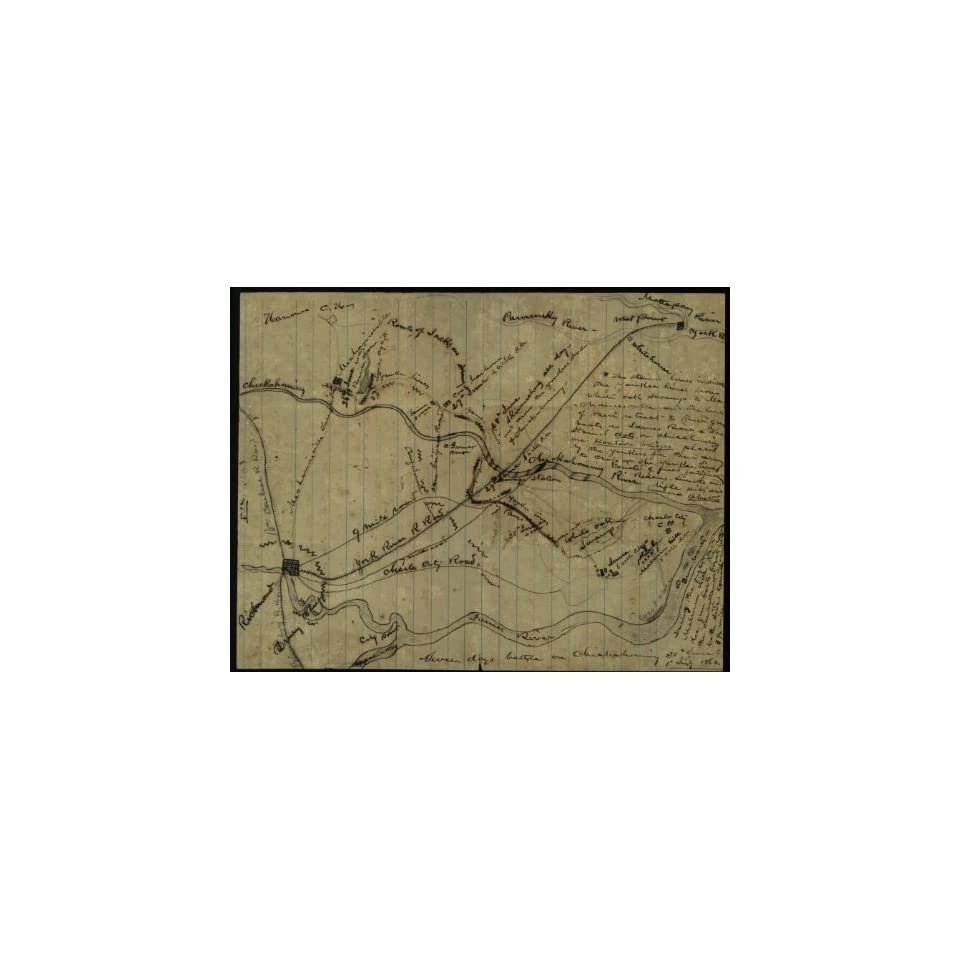Civil War Map Seven Days battle on Chickahominy  25th June to 1st July 1862.