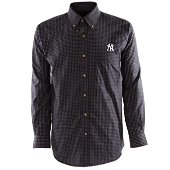 MLB Mens New York Yankees Esteem Long Sleeve Woven Shirt by Antigua