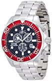 Invicta Pro Diver Chronograph Black Carbon Fiber Dial Stainless Steel Watch Men's Quartz Watch with Black Dial Chronograph Display and Silver Stainless Steel Bracelet 12570