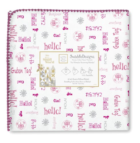 Swaddledesigns Ultimate Receiving Blanket, Disney It'S A Small World - Hello!, Very Berry