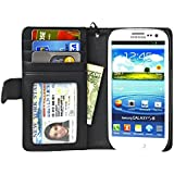 New Navor Samsung Galaxy S3 Life Protective Deluxe Book Style Folio Wallet Leather Case with Hard Shell & Removable Strap Multifunctional - Pockets to Keep Bank Cards Driving License Bills & Belongings Safe - Fit for all Carriers - Black