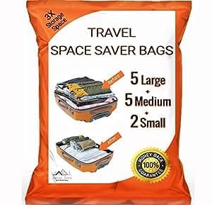 12 Pack PREMIUM Travel Space Saver Bags No Vacuum Needed