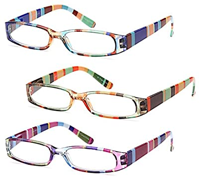 GAMMA RAY READERS 3 Pairs Ladies' Color Block Readers Quality Spring Hinge Reading Glasses for Women