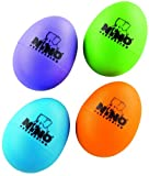Nino Percussion NINOSET540-2 Plastic Egg Shaker Assortment, 4 Pieces: Aubergine, Grass Green, Orange, Sky Blue