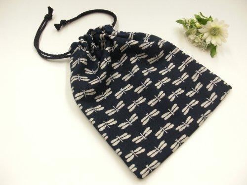 手作り 和柄 巾着袋 紺×トンボ柄 和小物 和雑貨 和風小物