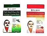 Nu-pore Combo Gift Pack of Collagen Essence Facial Masks - (1) 2-pk of Fresh Aloe & Cucumber (1) 2 Pk. Of Natural Herb & Pomegranate Collagen (4 Total Masks)