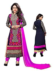 Sky Up Women's Pink Embroidered Pink Salwar Suit