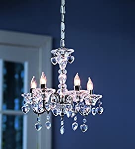 "HearthSong ""Crystal"" Hearts Chandelier for Kids' Rooms, in White"
