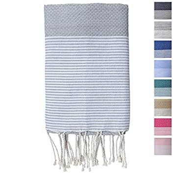 "Premium Fouta Towel (Aka Turkish Towel, Pestemal or Peshtemal) By FFsense ® - Oversized 78"" x 39"" Inches, 13.8 Ounces, Striped, Waffle Weave - High Quality 100% Authentic Cotton - Best Used As Bath, Beach, Pool, Gym, Spa, Sauna, Hammam, Hamam, Massage Towels - The Perfect Gift - Grey"