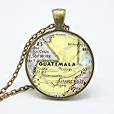 Vintage Guatemala Necklace, Vintage Central America Map Pendant Jewelry