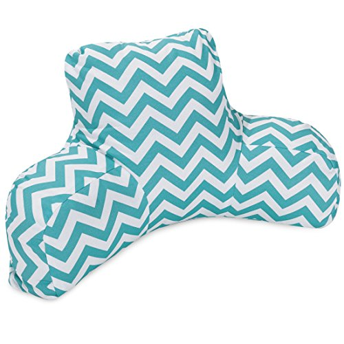 Majestic Home Goods Chevron Reading Pillow, Teal front-495166