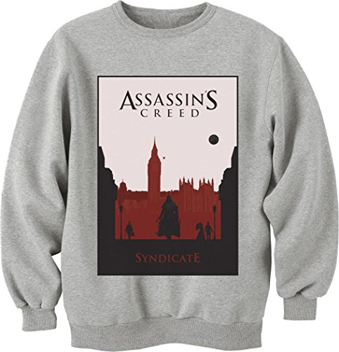 Assassin's Creed Syndicate Game-Felpa a girocollo, Unisex grigio XXL