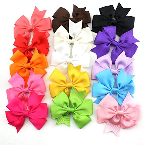 Foxnovo 15 Color 3 Boutique Hair Bows Girls Kids Alligator Clip Grosgrain Ribbon Headbands Hair Clips No Clip Baby Ribbon Hair Bows Baby Shower Gift!