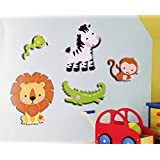 "5 Piece Set Jungle Animals Foam 3d Stick-on Removable Wall Decoration (4"" To 8"" Tall) Lion Alligator Monkey Zebra..."