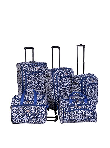American Flyer 5-Piece Aztec Spinner Luggage Set, Blue