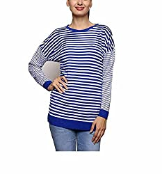 Leebonee Women's Acrylic Full Sleeve Light Ink Blue Sweater