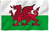 ANLEY [Fly Breeze] 3x5 Foot Wales Flag - Vivid Color and UV Fade Resistant - Canvas Header and Double Stitched - Welsh Flags Polyester with Brass Grommets 3 X 5 Ft