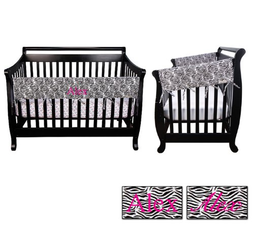 Personalized Embroidered Name Trend Lab Crib Wrap 3 Piece Rail Guard Set, Zebra Print front-1057117