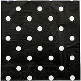"""PrettyurParty Polka Dots Paper Napkins (13"""" x 13"""") - Black"""