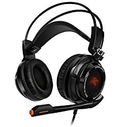 Sentey Gaming Headset 7.1 Virtual with Vibration Arches Headphones Intelligent Vibration System 4d Experience Bass Headband In-line Control Lightweight Adaptive Comfort Headband Pc Computer H.p Headphone Gaming Headset USB 2.0 Connector Digital Surround Sound with Braided 2 Meters Cable (Black) Gs-4730