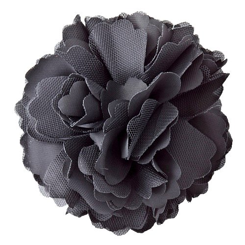 Black Fabric Rosette Brooch/Hair Clip with Pin and Clip Backing - Approx. 5