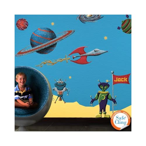 Space Wall Stickers for Space Theme Wall Mural - Easy Peel & Stick Wall Decals