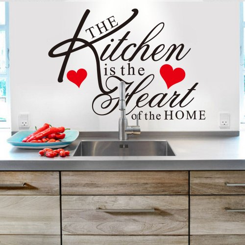Witkey The Kitchen is the Heart of the Home Red Heart Wall Decal Sticker Art Mural Home Décor Quote DIY - 1
