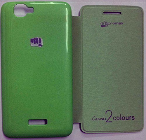 MACC Premium Diary Flip Cover Case for Micromax Canvas 2 Colors A120 - Green