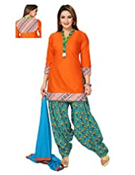 Ritu Creation Women's New Cotton Stitched Patyala Suit With Printed Patyala(Orange)