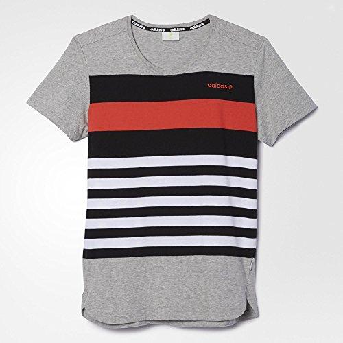 (アディダス)adidas July Stripe Tee Medium Grey Heather / Bright Red メンズ Tシャツ 半袖 ショートスリープ トップス【並行輸入品】
