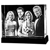 Personalized Custom 2D/3D Photo Etched Engraving on Medium Rectangle Crystal (Tamaño: Medium Rectangle 2.95X3.55X2.95 Inch)