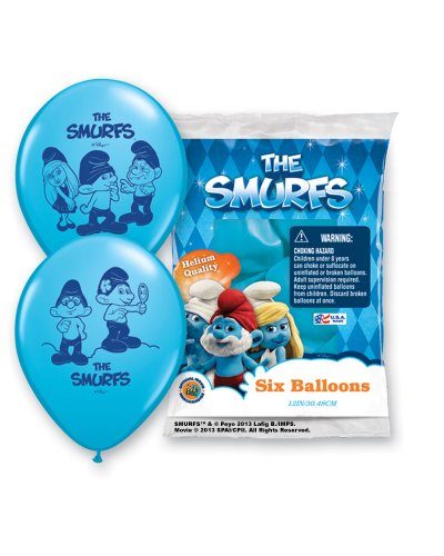 "Pioneer National Latex The Smurfs 6 Count 12"" Latex Balloons, Assorted"