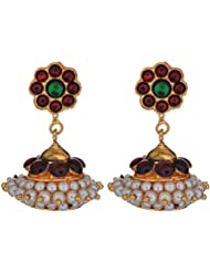 Preethi Gold Plated Gold Metal Jhumki Earrings For Women (Preethi_15)