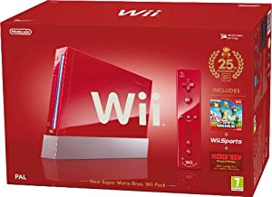 Nintendo Wii Console (Red) with Wii Sports plus New Super Mario Bros and Motion Plus Controller (Wii)