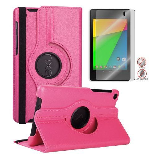 =>>  FHD 360 Rotating PU Leather Case Pouch Cover Skin [Hot Pink] for Google Nexus 7 2nd Gen+Free Anti-Glare Matte Screen Protector - 2013 NEW