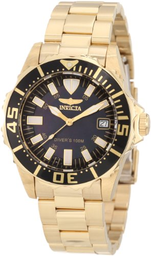 Invicta Women s 10626 Pro Diver Black Mother Of Pearl Dial 18k Gold Plated  Watch 3fe46dbd9