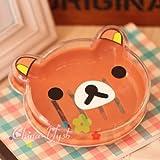 New Cartoon San-X Relax Bear Soap Dish Soap Box Bathroom Soap Holder Container (Brown)