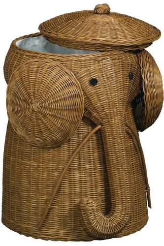 Rattan Elephant Hamper, 22″Hx14″D, BROWN